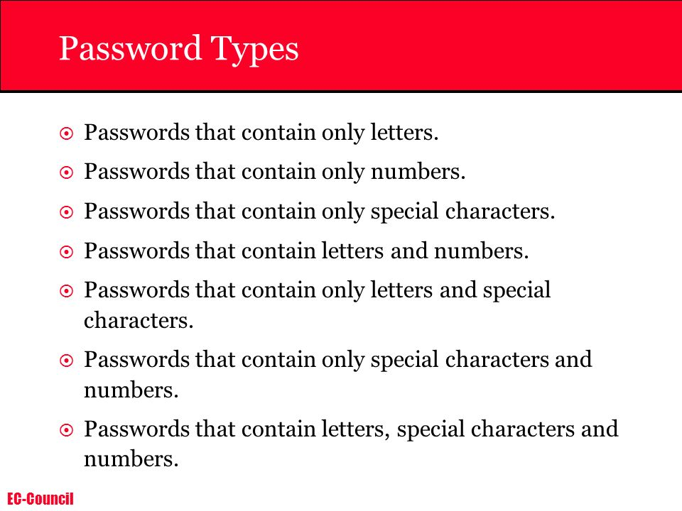 Password Types Passwords that contain only letters.