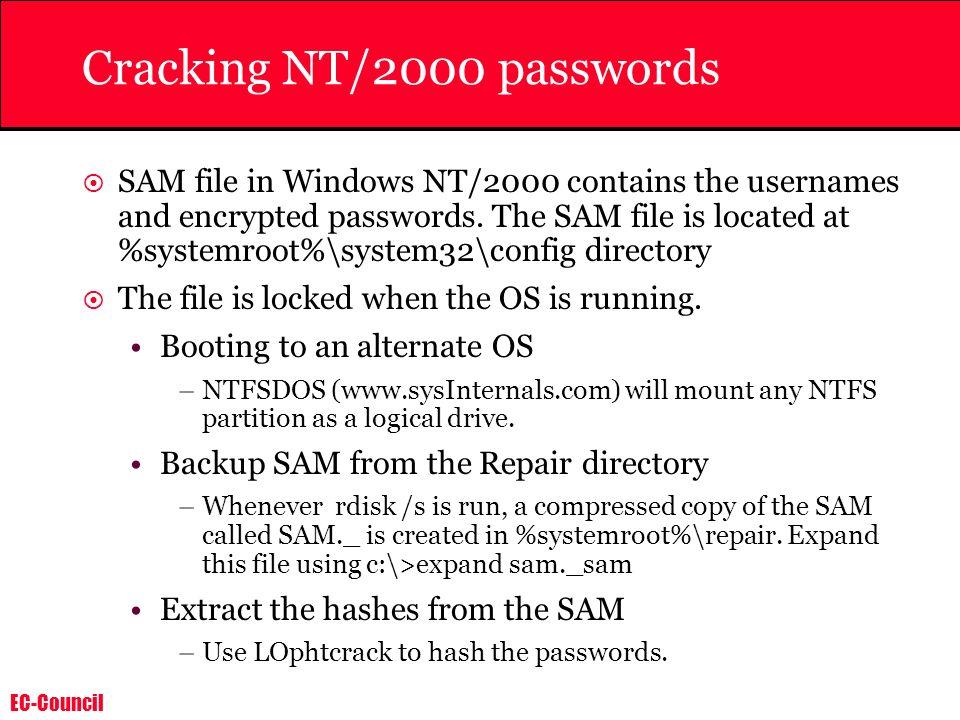 Cracking NT/2000 passwords