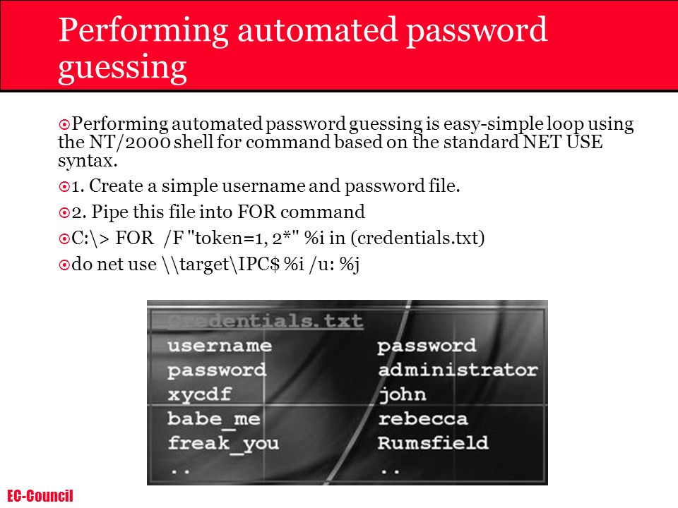 Performing automated password guessing