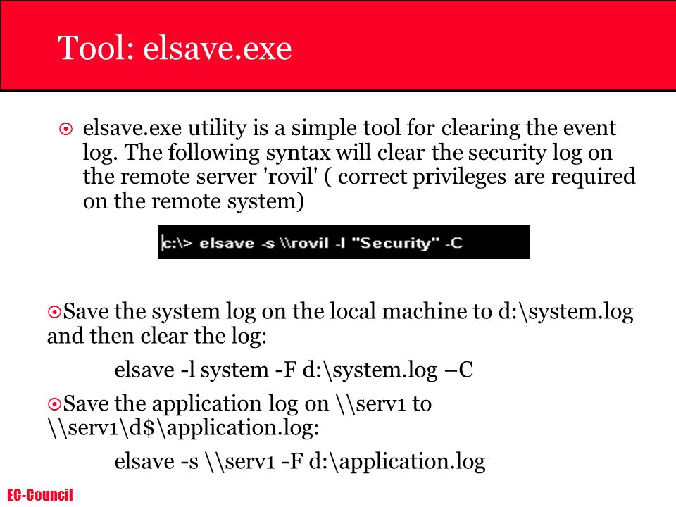 Tool: elsave.exe