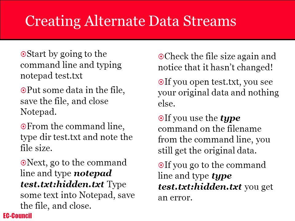 Creating Alternate Data Streams