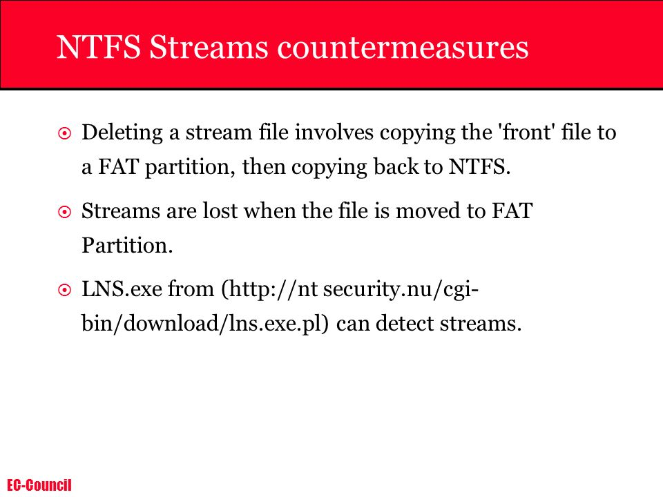 NTFS Streams countermeasures