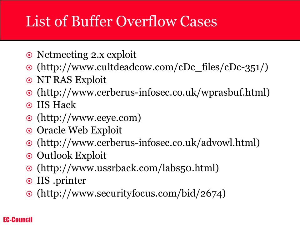 List of Buffer Overflow Cases