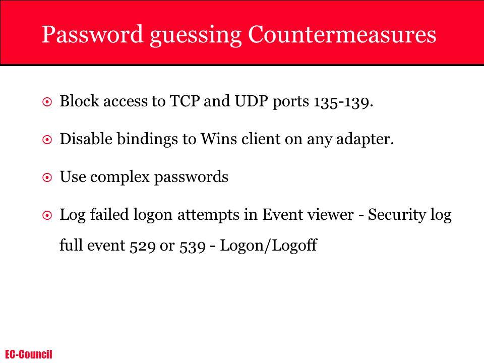 Password guessing Countermeasures