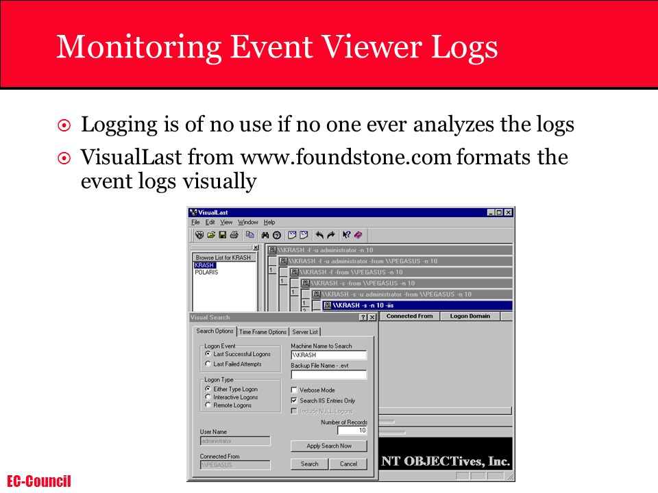 Monitoring Event Viewer Logs