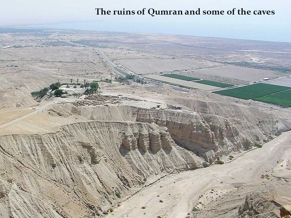 The ruins of Qumran and some of the caves