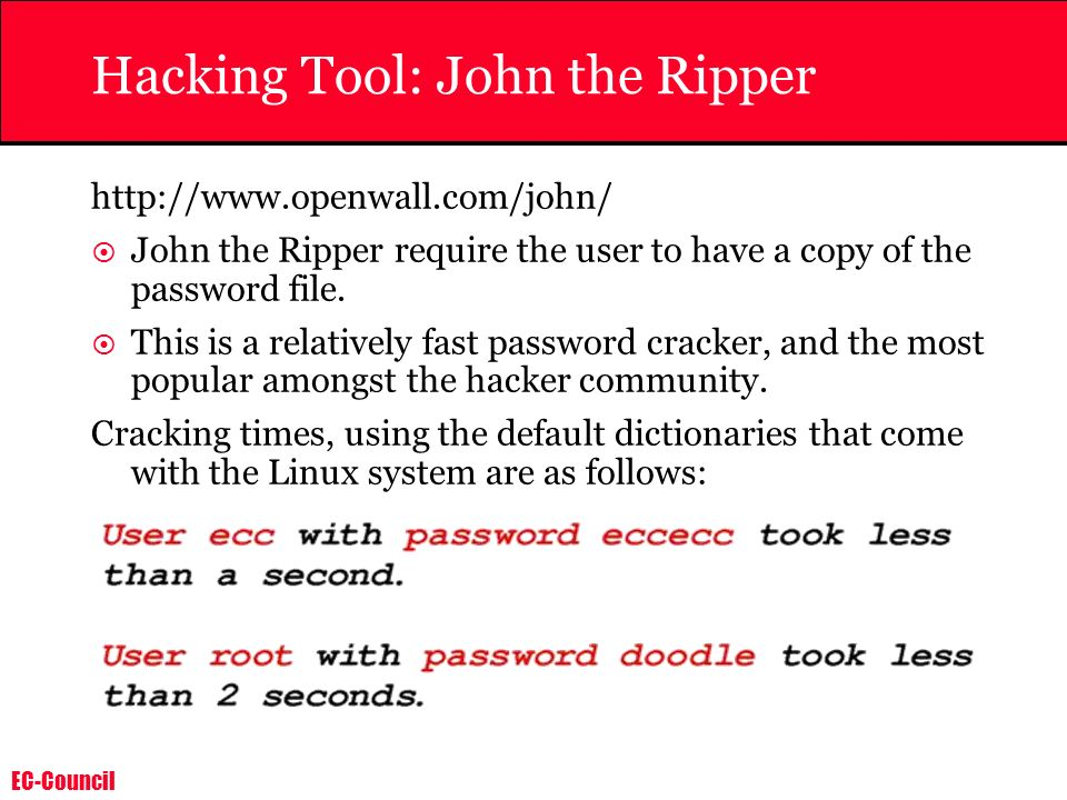 Hacking Tool: John the Ripper