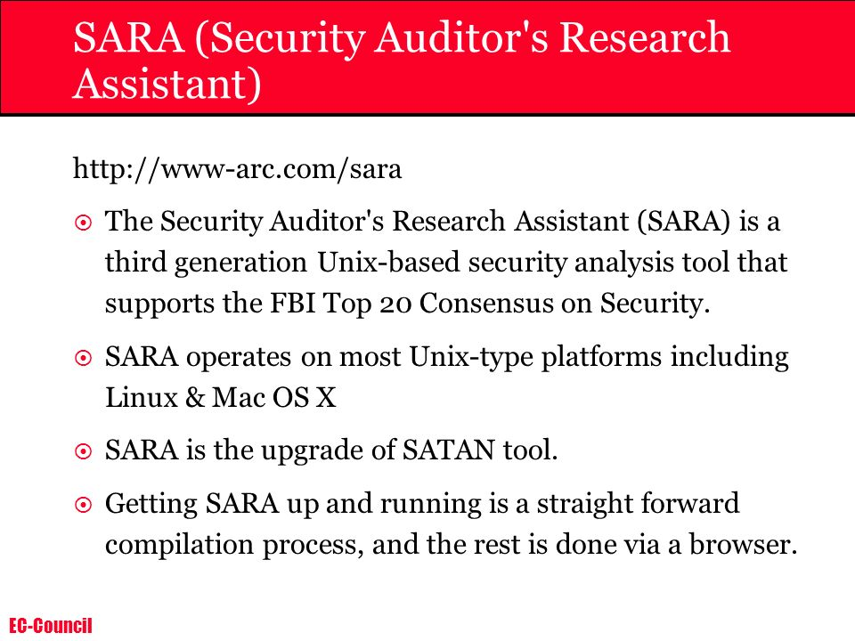 SARA (Security Auditor s Research Assistant)