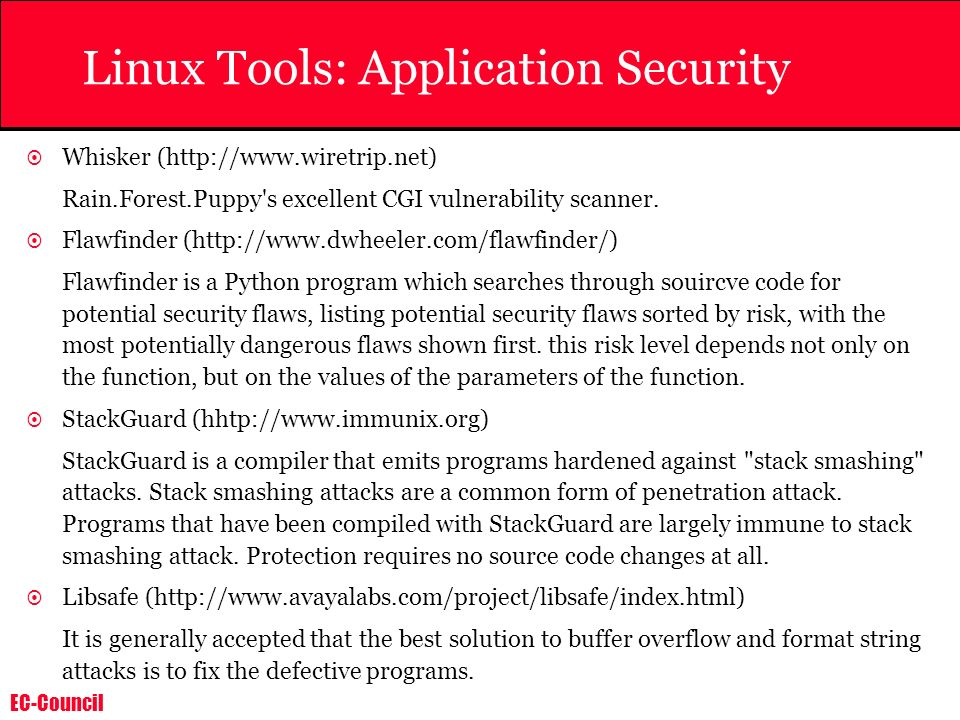 Linux Tools: Application Security