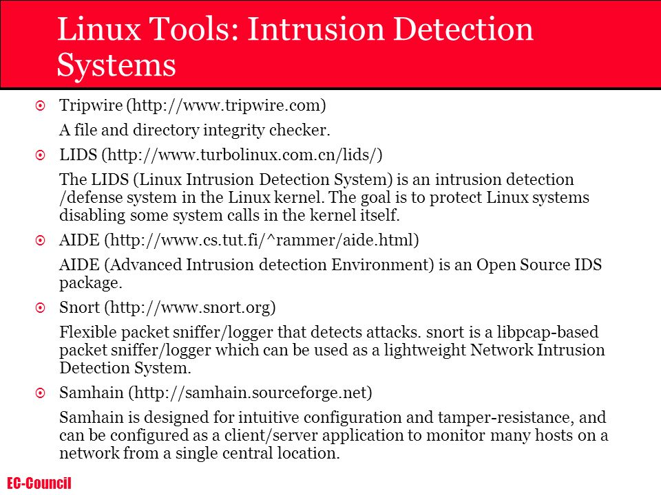 Linux Tools: Intrusion Detection Systems