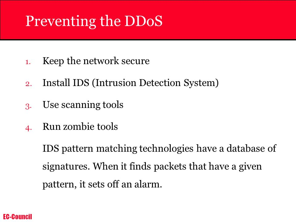 Preventing the DDoS Keep the network secure