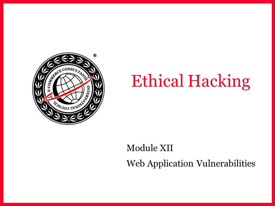 Module XII Web Application Vulnerabilities