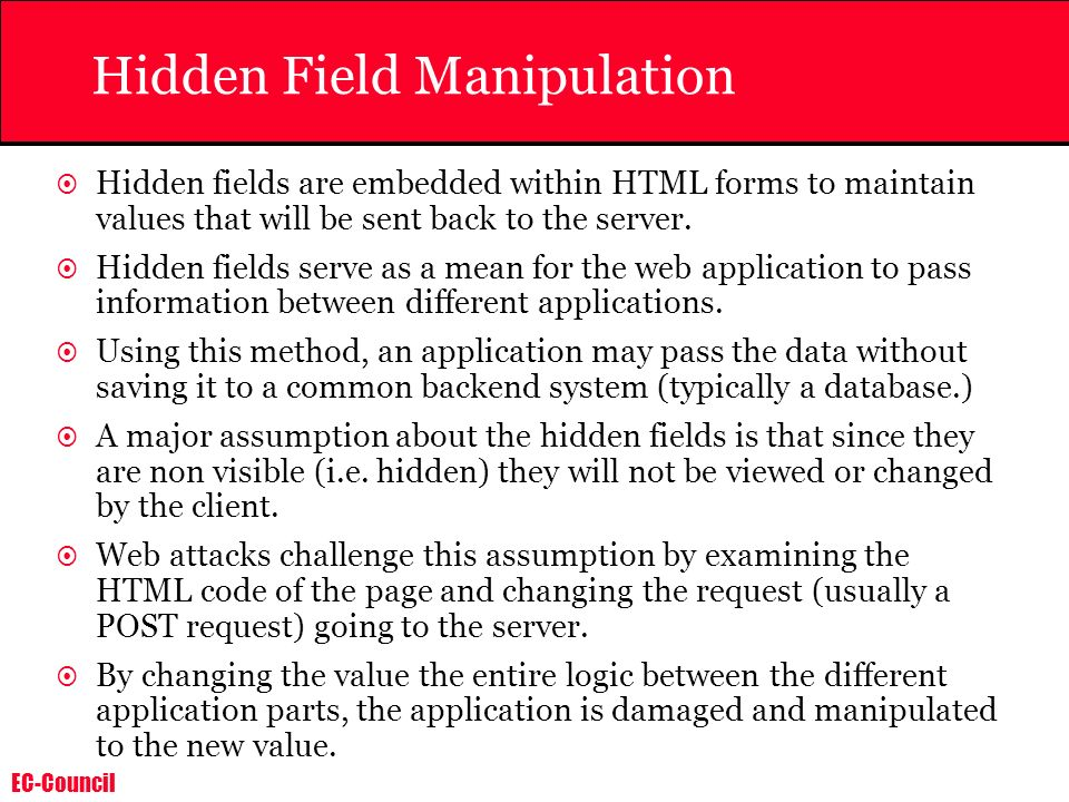 Hidden Field Manipulation
