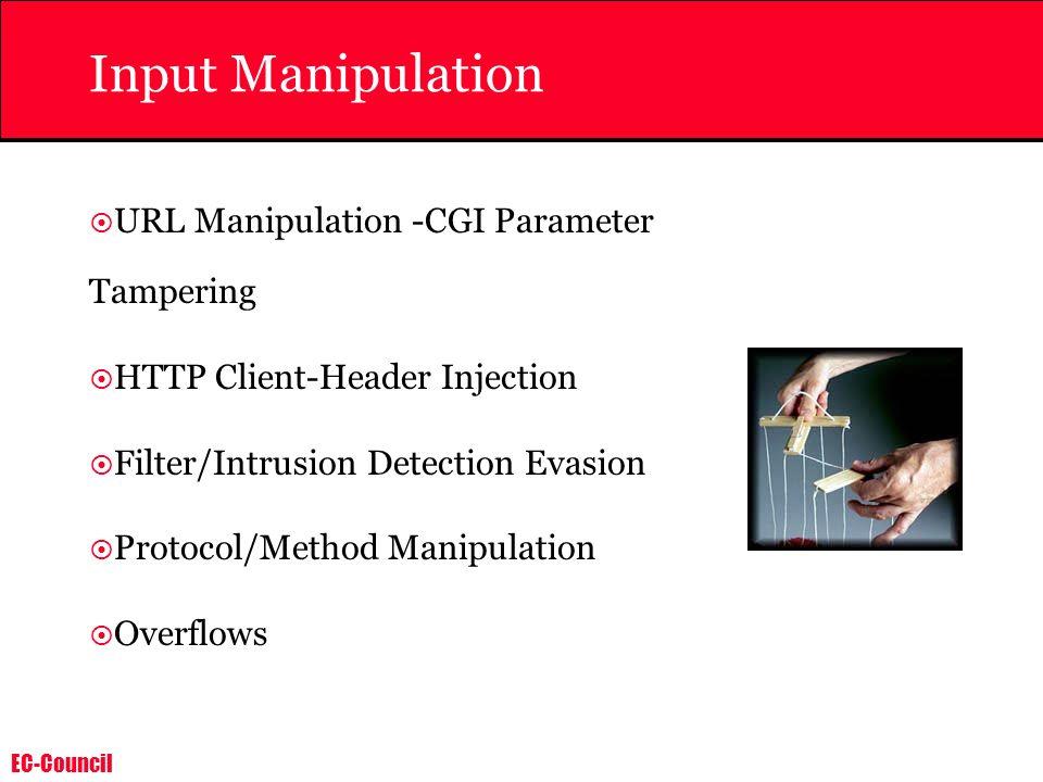 Input Manipulation URL Manipulation -CGI Parameter Tampering