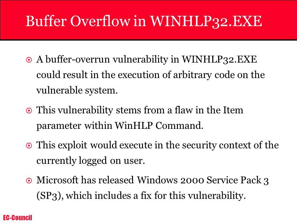 Buffer Overflow in WINHLP32.EXE