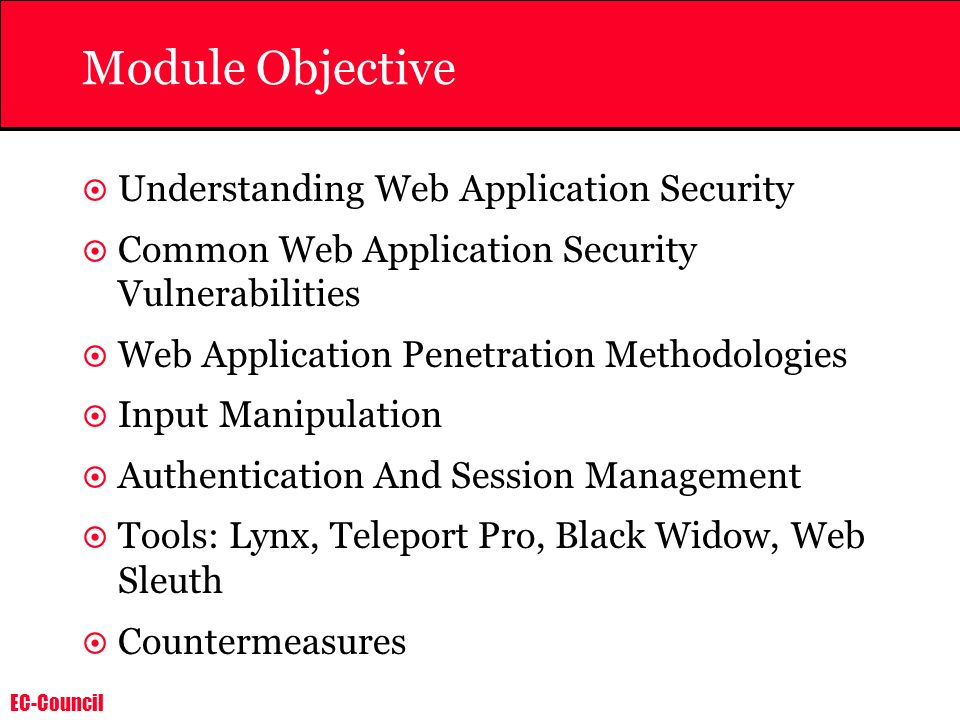 Module Objective Understanding Web Application Security