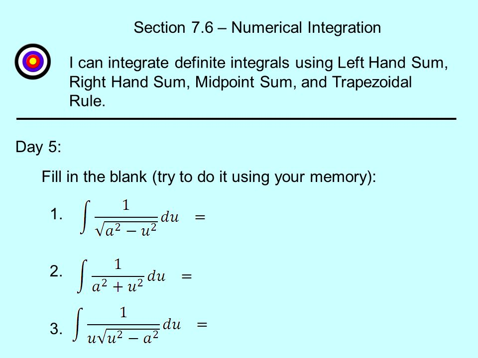 Section 7.6 – Numerical Integration