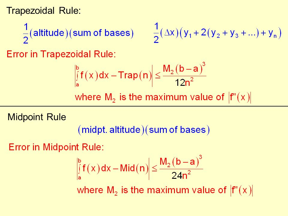 Trapezoidal Rule: Midpoint Rule