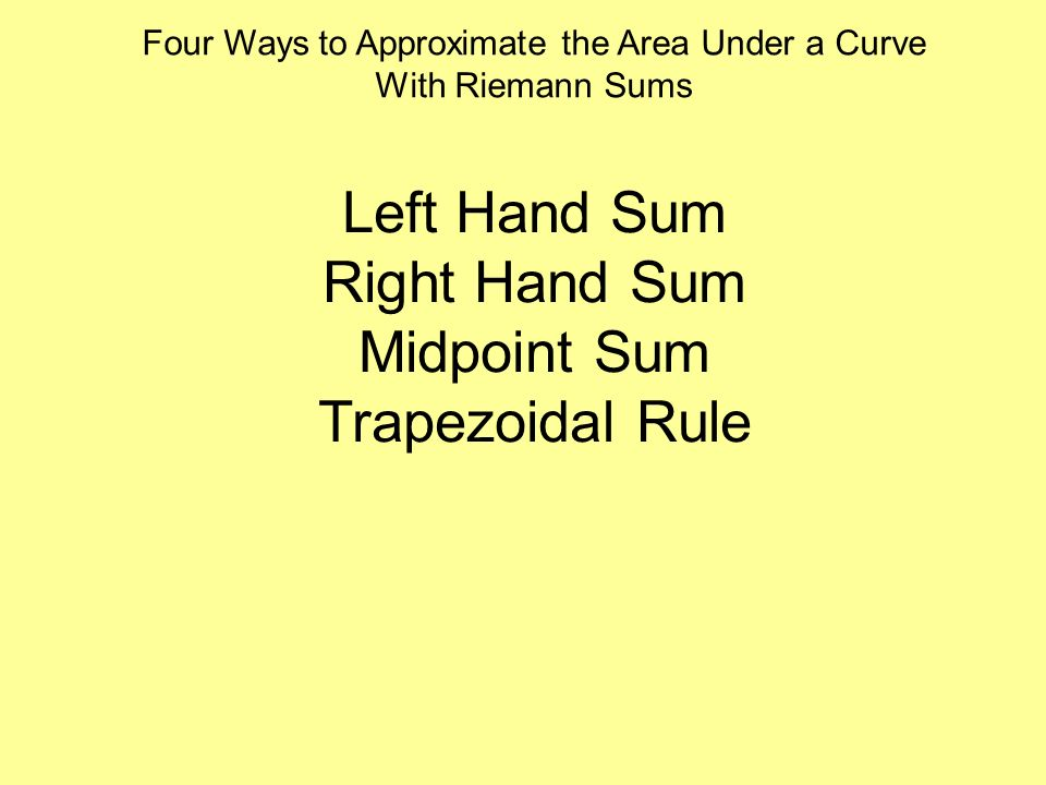 Four Ways to Approximate the Area Under a Curve