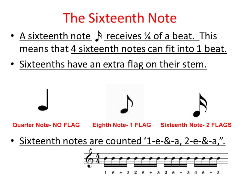 The Sixteenth Note A sixteenth note receives ¼ of a beat. This means that 4 sixteenth notes can fit into 1 beat.