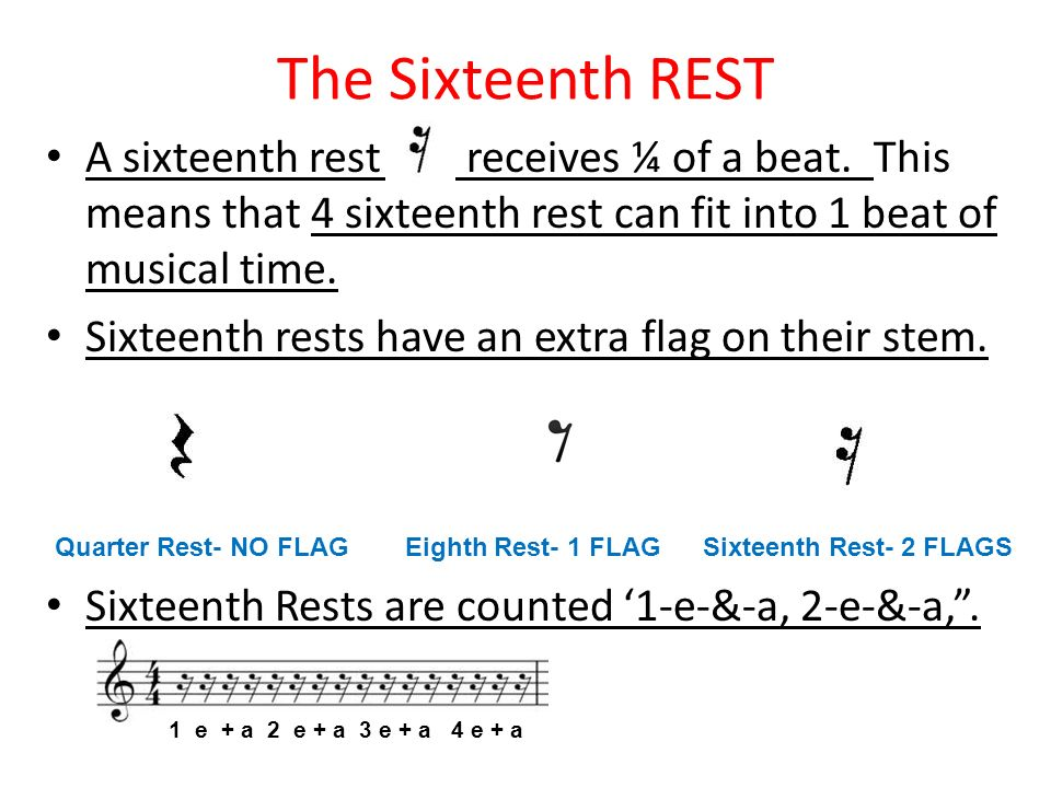 The Sixteenth REST A sixteenth rest receives ¼ of a beat. This means that 4 sixteenth rest can fit into 1 beat of musical time.