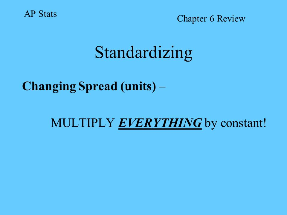 Changing Spread (units) – MULTIPLY EVERYTHING by constant!
