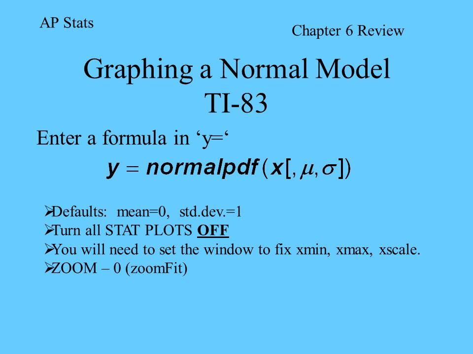Graphing a Normal Model TI-83