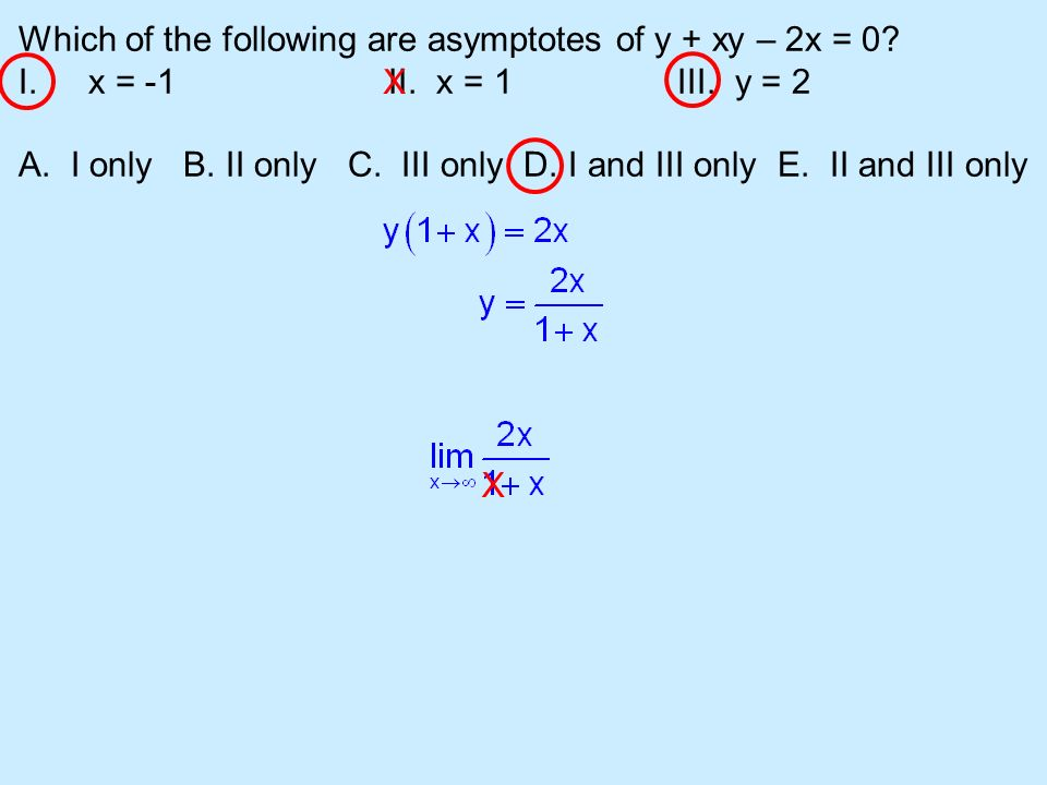 Which of the following are asymptotes of y + xy – 2x = 0