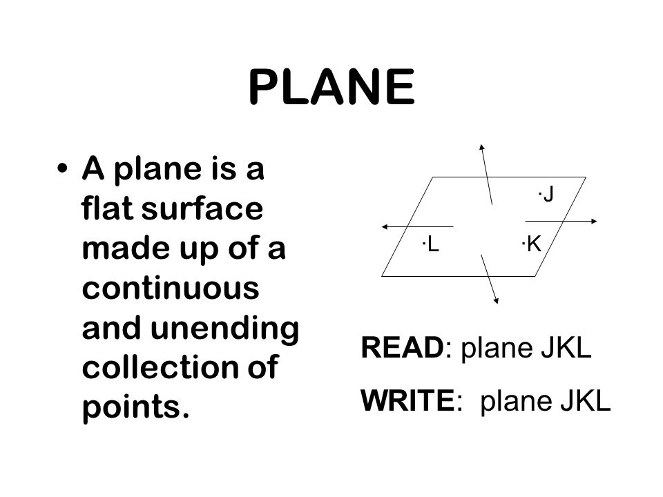 PLANE A plane is a flat surface made up of a continuous and unending collection of points. ·J. ·L.