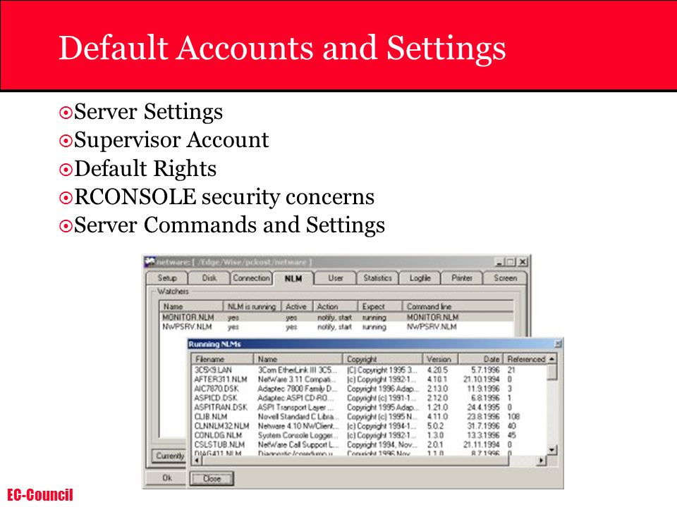 Default Accounts and Settings