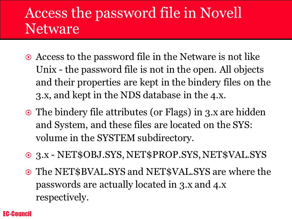 Access the password file in Novell Netware