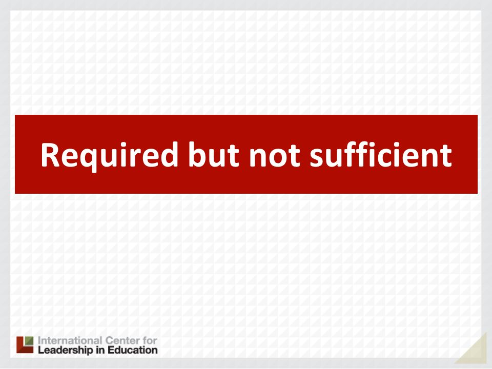 Required but not sufficient