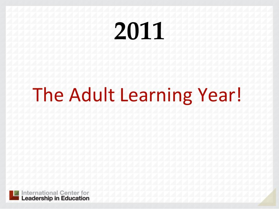 The Adult Learning Year!