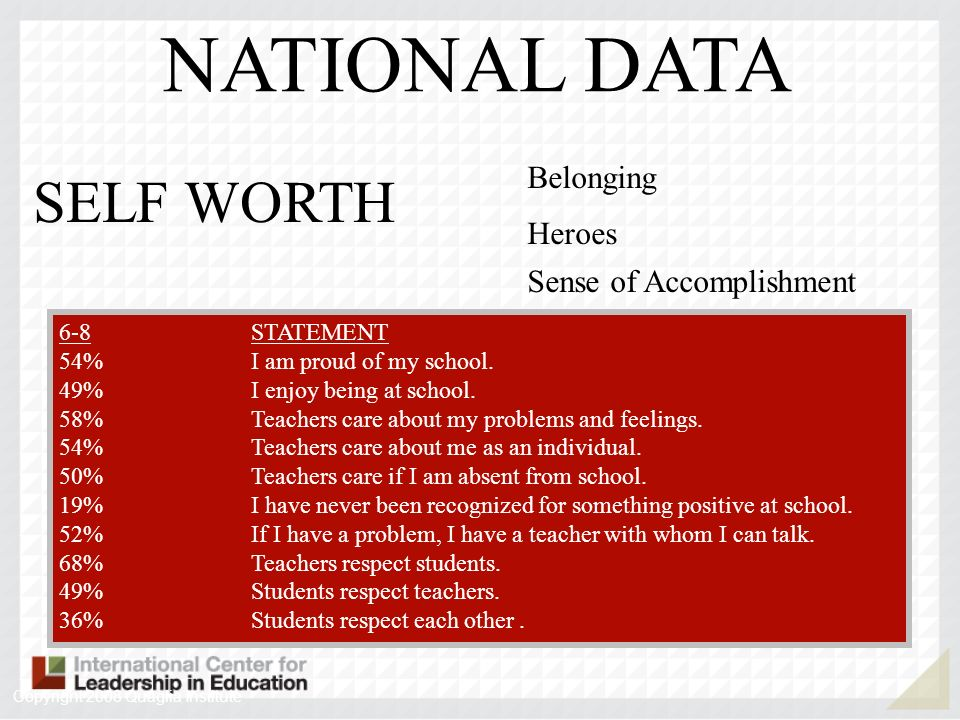 NATIONAL DATA SELF WORTH Belonging Heroes Sense of Accomplishment