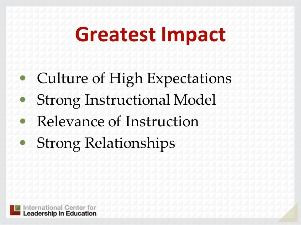 Greatest Impact Culture of High Expectations