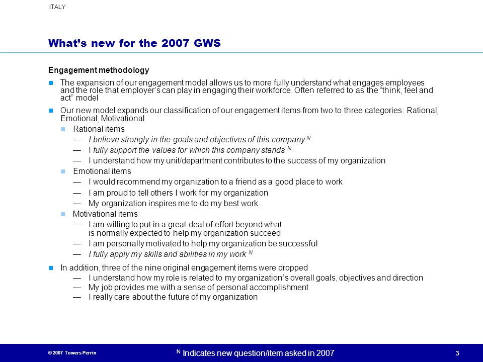 What's new for the 2007 GWS Engagement methodology
