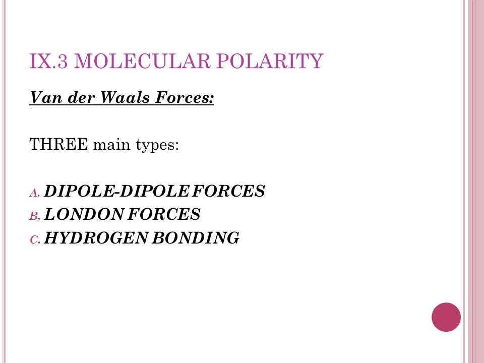 IX.3 Molecular Polarity Van der Waals Forces: THREE main types: