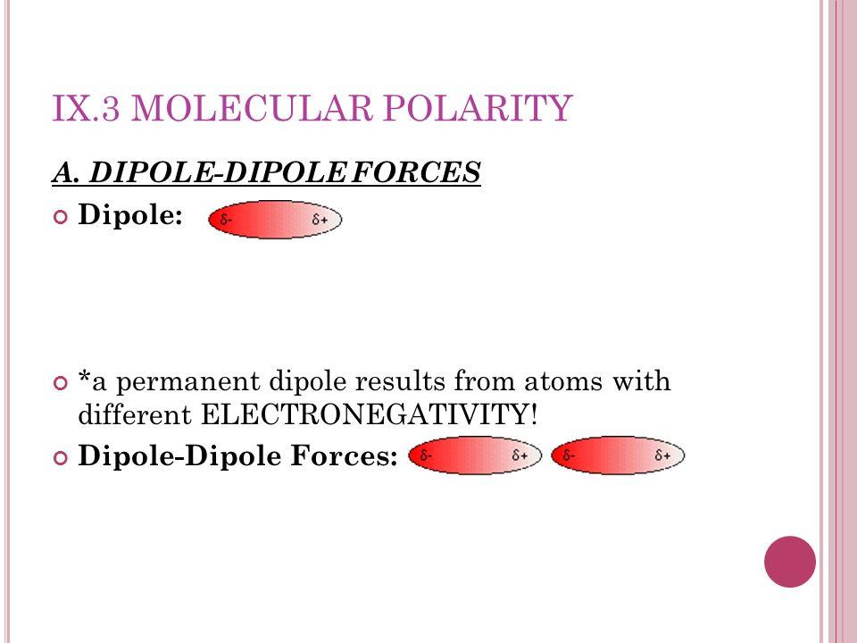 IX.3 Molecular Polarity A. DIPOLE-DIPOLE FORCES Dipole: