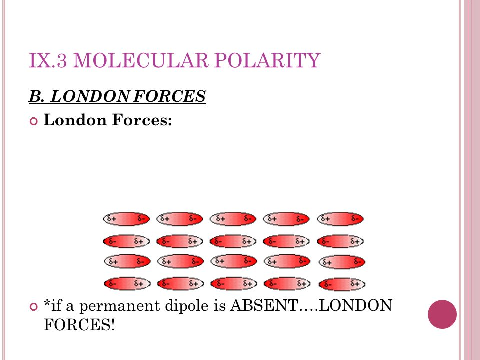 IX.3 Molecular Polarity B. LONDON FORCES London Forces: