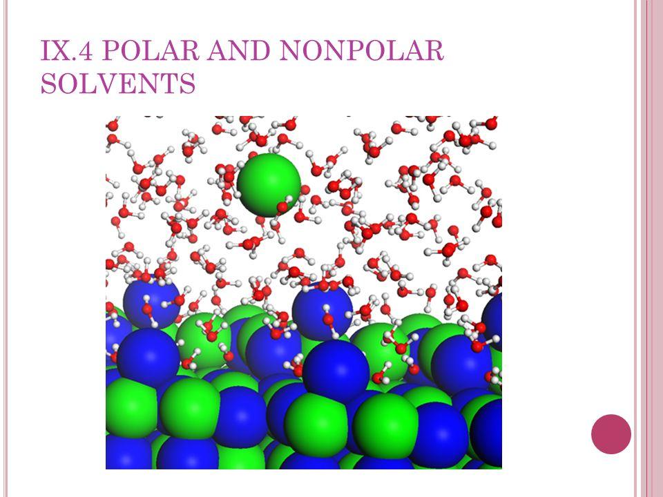 IX.4 Polar and Nonpolar Solvents