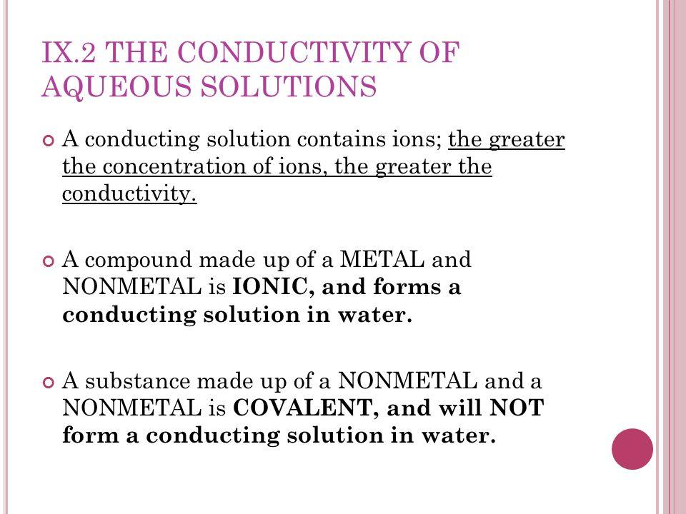 IX.2 The Conductivity of Aqueous Solutions