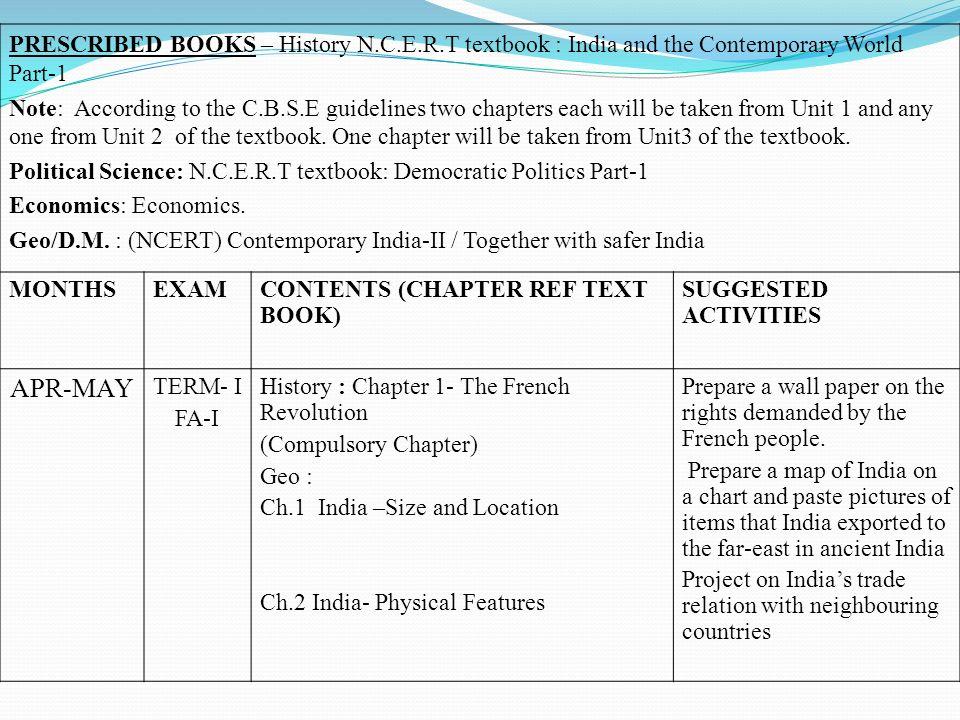 PRESCRIBED BOOKS – History N. C. E. R