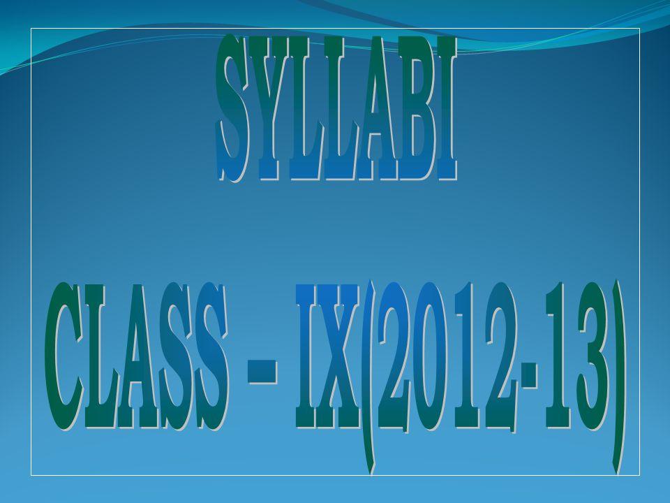 SYLLABI CLASS – IX(2012-13)