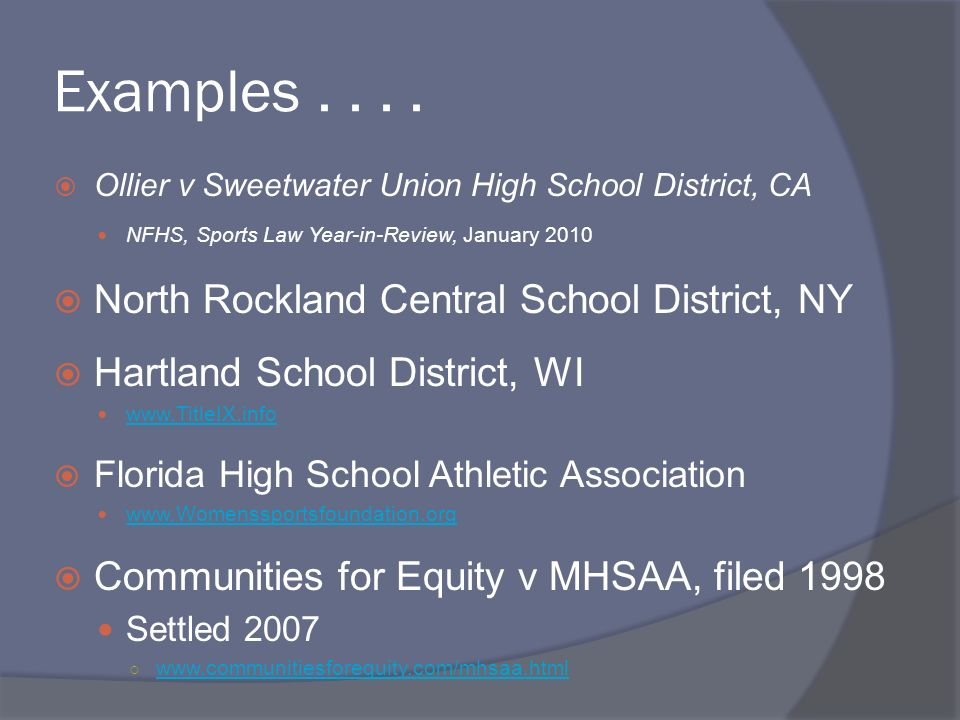 Examples . . . . North Rockland Central School District, NY
