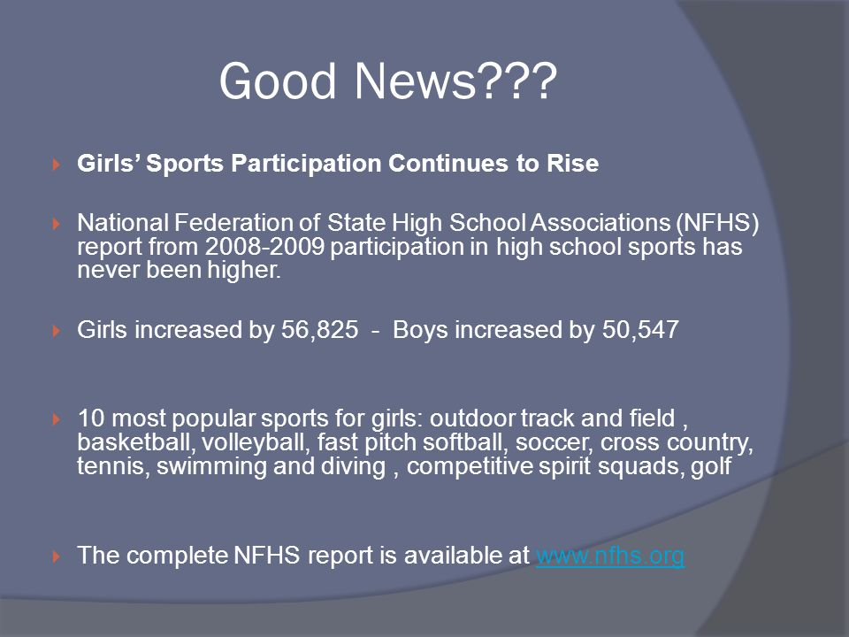 Good News Girls' Sports Participation Continues to Rise