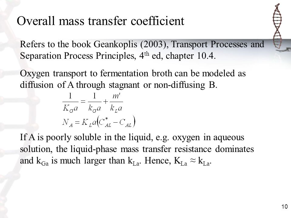 Overall mass transfer coefficient