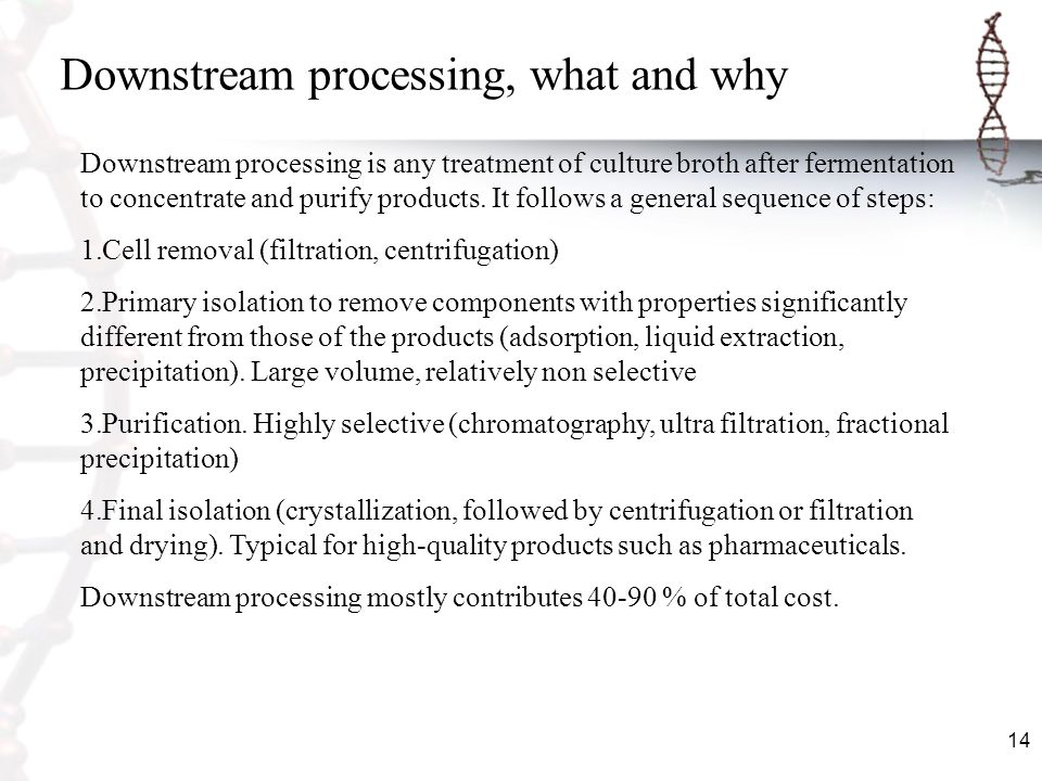 Downstream processing, what and why