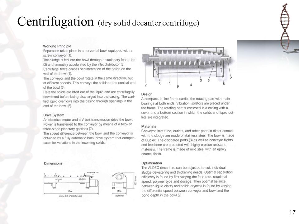 Centrifugation (dry solid decanter centrifuge)