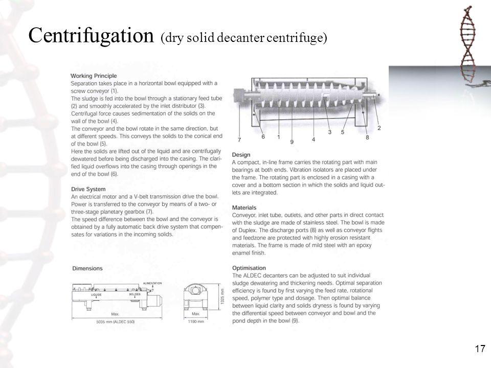 Centrifugation (dry solid decanter centrifuge)